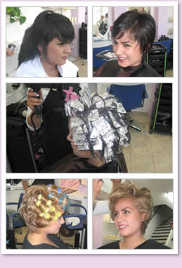 Hair style transformation.