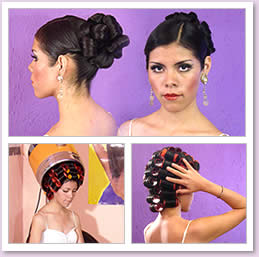Young Latin model showing a nice classic updo style