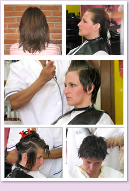 Mature woman getting a razor cut at the salon.