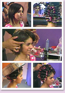 Roller Set in Hair Salon http://www.haircinema.com/movies/movies1.html