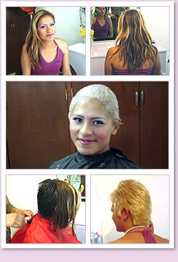 Girl getting her hair bleached